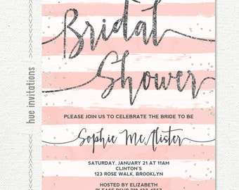 bridal shower invitation, blush pink white stripes silver glitter bridal shower brunch invitation, customized printable digital invitatio