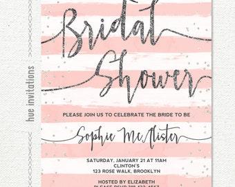 bridal shower invitation, blush pink white stripes silver glitter bridal shower brunch invitation, customized printable digital invitatio