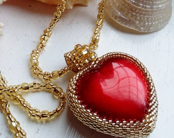 Gold Beaded Red Heart Pendant Necklace