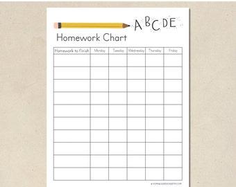 homework chart - printable instant download - DIY - hand illustrated - children's weekly homework and responsibilities - kindergarten