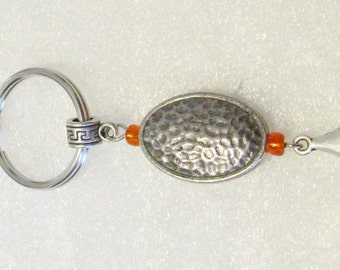 1328 - NEW - Silver Tone Oval Key Ring