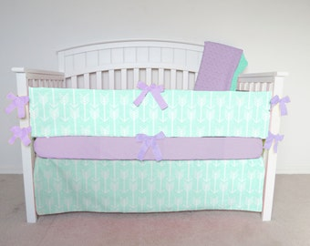 FREE SHIPPING - 4 Piece Crib Set - Mint arrow crib set