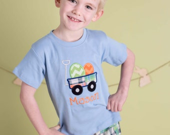 Boy's Easter Shirt with Easter Egg Wagon and Embroidered Name - M30