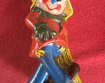 Vintage handmade  Halloween Scarecrow ceramic figurine