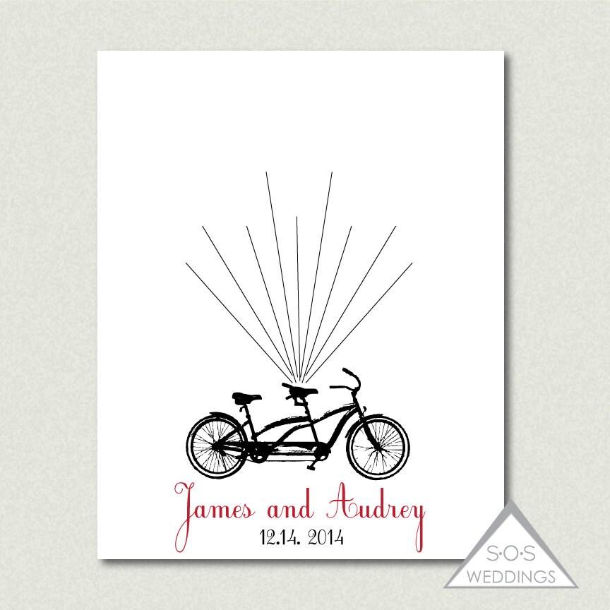 tandem bike fingerprint guest book wedding thumbprint
