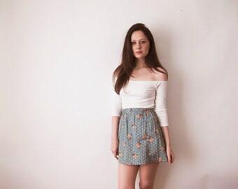 70s Cotton Mini Skirt XS Small