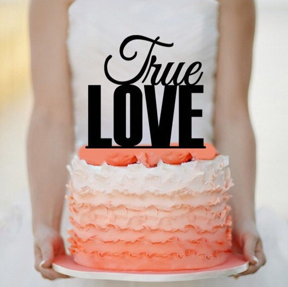 True Love Wedding Cake Topper Monogram Cake Topper