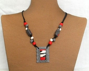 Red Polymer Necklace - Unique Handmade Necklace