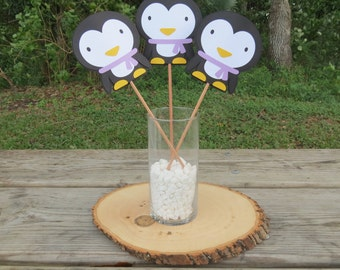 Penguin Winter Onederland - Set of 3 - Table Decorations - Lavender
