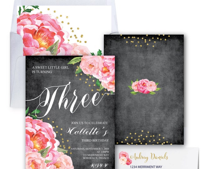 Birthday Invitation // Two // Three // Four//Five//Six//Any Age//Chalkboard//Flowers // Peony // Pink // Gold Glitter // BORDEAUX COLLECTION