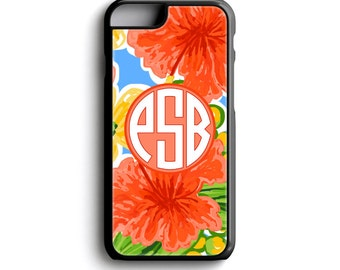Monogrammed iPhone Case - Monogram Phone Cover - Personalized Gift for Mom - iPhone 5s Case - Tropical Floral iPhone 6 Case - FCM200