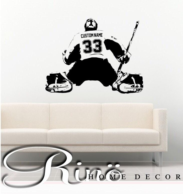 Hockey Wall Decal Large Decal Custom Name Decal Boys