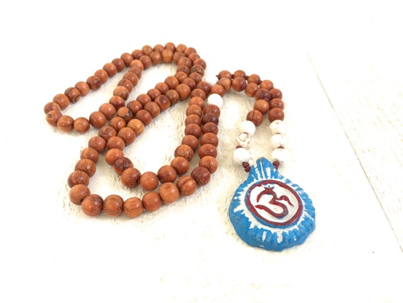 Mala Necklace, OM Mala Beads, 108 Wood Mala Beads, OM Pendant, Yoga Necklace, Long Mala Necklace, Clay OM Pendant, Healing Necklace