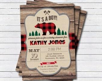 Lumberjack baby shower invitation. Rustic wood bear it's a boy baby shower invitation. Couple baby shower, coed baby shower invitation. B194