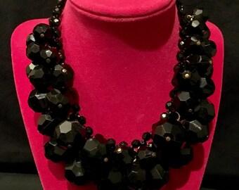 Vintage Black Resin Cluster Necklace