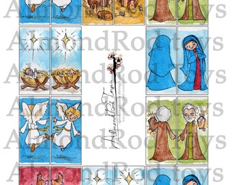 Nativity Craft Sheets 3 pages (Two 15 piece Nativity artwork)