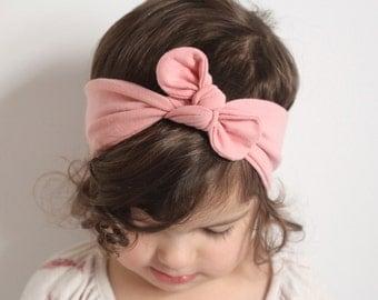 Baby Knot Headband, Baby Turban Headband, Baby Head Wrap, Headwrap [Dusty Rose / Blush Pink Knotted Headband, 0-6 mths // KH-DUSTYROSE-01]
