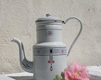 Rare art deco enamel coffeepot, vintage cafetiere, country home, cottage chic, shabby chic, German vintage kitchen, French enamel coffeepot