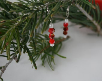 Earrings, red, Christmas, dangling, white