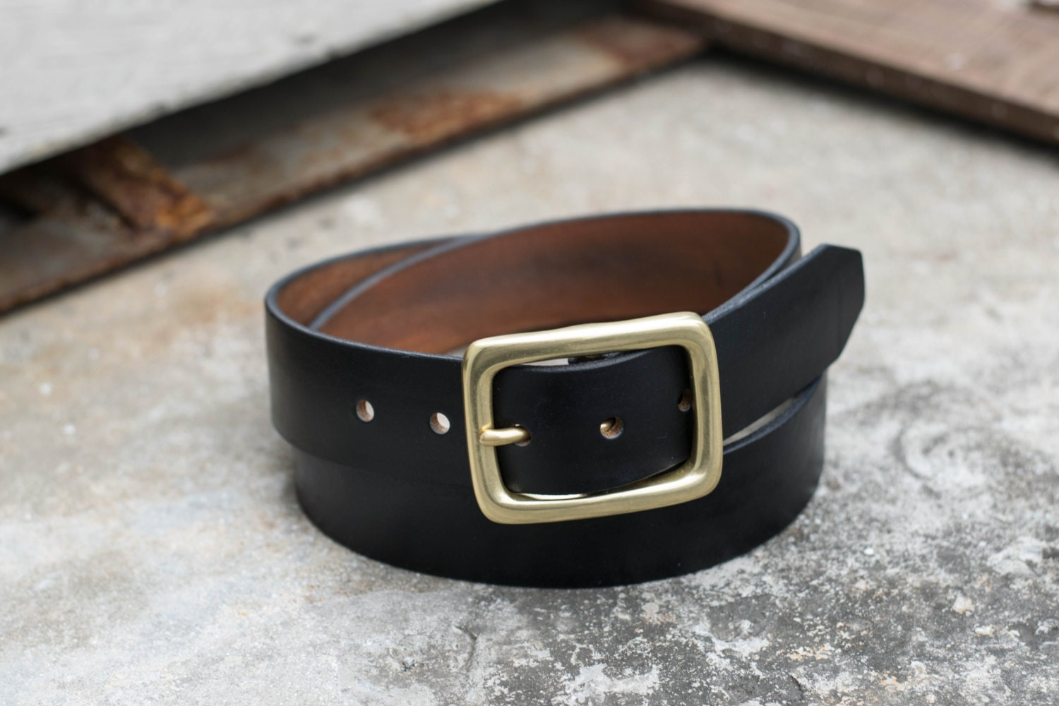 vegetable tanned garrison leather belt 3 colors 1 5 inch