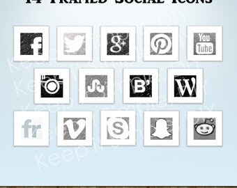 White Framed Social Icons