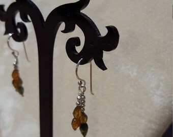 Natural Tourmaline Beaded Sterling Silver Dangle Earrings