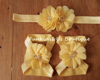 Yellow  Baby Barefoot sandals set and Headband- newborn Sandals, toddlers girl Shoe Accessories