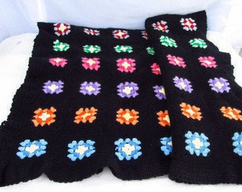 Crotchet blanket Afghan  lap throw Crotchet granny squares