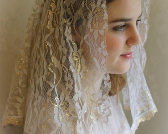 Evintage Veils~  Gold & White Our Lady Vintage Inspired White Lace Chapel Veil Mantilla