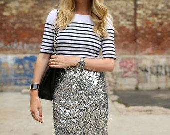 Sequin pencil skirt | Etsy