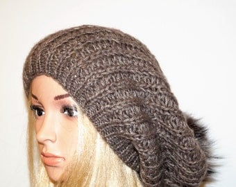 Brown Hat, Wool Hat,Warm Cap, Winter Hat,Womans Hat , Natural Fur Pom Pom,Hand Knitted Caps,Knitted Hat,Knitted Cap