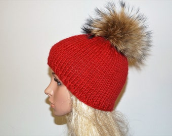 Red Hat,Alpaca Wool Hat,Winter Cap,Womans Hat , Natural Fur Pompon,Hat Fur Pom Pom,Hand Knitted Hat,Handmade Cap,Handmade Hat