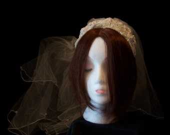 1970's/1980's Beautiful White Bridal Headpiece and Veiling/Pearls/Sequins/White Satin/Gorgeous