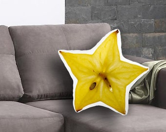 Starfruit Slice Printed Pillow, Starfruit Lover Gift, Starfruit Print, Linen Throw pillow, Toss pillow, Decorative pillow, Food Pillow