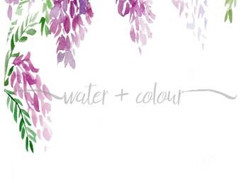Downloadable wisteria watercolor border