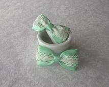 Pastel Mint Green Satin & Off-White Ivory Lace Hair Bow, Fancy, Flower Girl Hair Accessory, School, Photos, Clip, Barrette, Seafoam Green