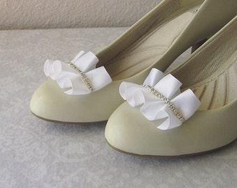 White Pleated Satin Shoe Clips, Silver Rhinestones, Classy, Elegant, Handmade Wedding Shoe Jewelry, Bridesmaids, One-of-a-Kind, Bridal