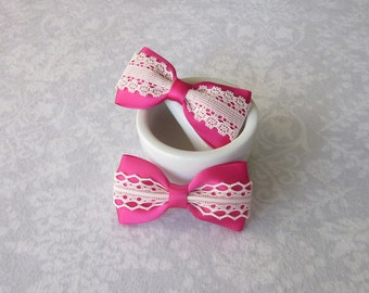 Fuchsia Satin & Off-White Ivory Lace Bow, Dark Pink, Hair Accessory, School, Barrette, Ponytail, Clip, Toddler, Photo Prop, Flower Girl