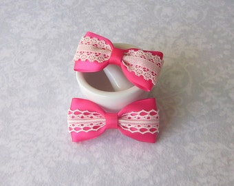 Bright Pink Magenta Satin & Off-White Ivory Lace Bow, Girls Hair Accessory, Barrette, Ponytail, Clip, Toddler, School, Photos, Headband