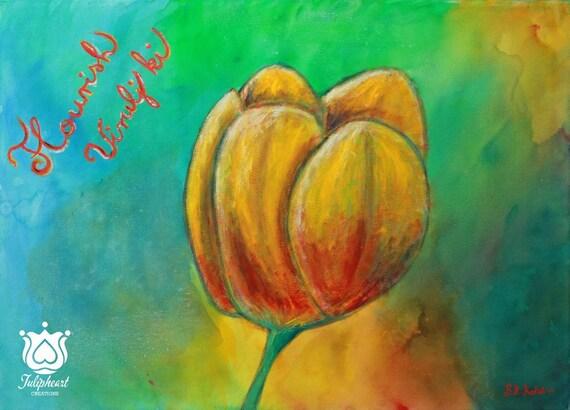 Flourish, Yellow Tulip, Feminine energies, power,  Original Acrylic Canvas Art,  Ready To Hang Art, Home Decor Wall Art, Whimsical, Abstract
