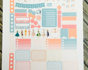 Retro Housewife Vintage Weekly Planner Stickers Set, for use with Erin Condren Life Planner, Happy Planner