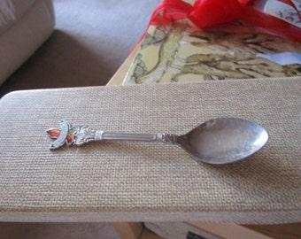 """vintage silvertone teaspoon enamel maple leaf with Edmonton 4.75""""long needs polishing"""