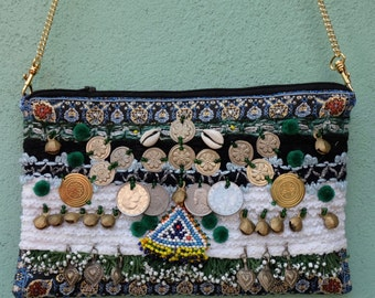 Ethnic leather handbag ADAK - embroidered with pearls, od jewelry and coins from Turkey