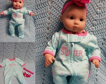 "Baby Doll Clothes to fit 15 inch baby doll ""Little Sister"" doll outfit with sleeper and headband hair clip Q3"