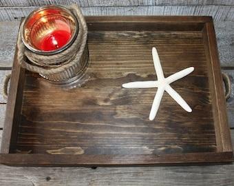 Rustic Rectangular Wood Tray, Handmade Wood Tray, Breakfast Tray Server, Ottoman Tray, Organizational Wood Tray