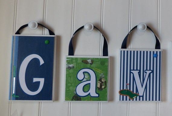 Baby Golf Decor Large Hanging Nursery Name Blocks Bedroom