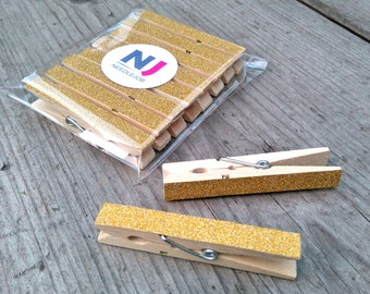 GOLD glitter pegs 8 pcs, wedding pegs, decorated pegs, wedding favor, glitter clothespins, clothes pins, table card holder, photo holder