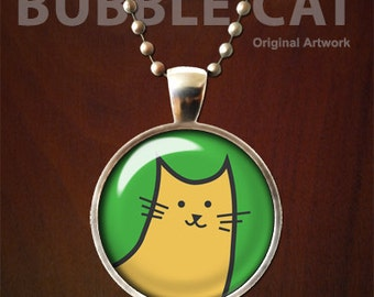 Orange Cat Necklace, Orange Cat Pendant with Chain