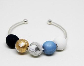 Cuff, Bead Cuff, Bangle, Multi Coloured Polymer Bead Bangle, Gold Bangle, Marble Bangle, Gold Polymer Beads, Polymer Bangle