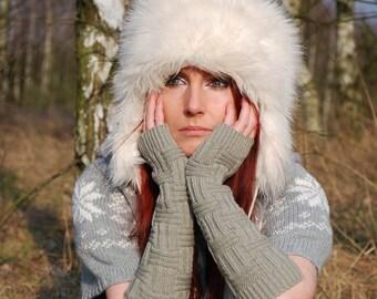 Very Long Arm Warmrs Knit Fingerless Gloves Gray Warm Mittens Sleeves Arm Cuffs Yoga Ski Woodland Hand Warmers Wrist Warmers Winter